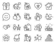 Holidays Icons Set. Included Icon As Christmas Ball, Smile Chat, Discount Signs. Sea Mountains, Present, Secret Gift Symbols. Ice Cream, Buyer, Roller Coaster. Coupons, Ask Me, New Star. Vector