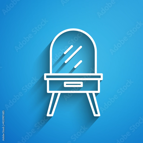 White line Dressing table icon isolated on blue background Fototapet