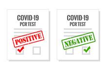 Covid Pcr Test Certificate, Vector Illustration