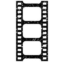 Grunge Film Strip Vector Icon