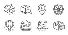 Search Package, Parking And Ferris Wheel Line Icons Set. Vip Parcel, Car Travel And Lighthouse Signs. Air Balloon, Connecting Flight Symbols. Tracking Service, Park Pointer, Attraction Park. Vector