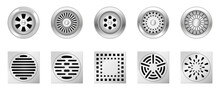 Realistic Metal Drainage Grates. Set Of Square Round Drain Manhole With Steel Grid For Shower Sink