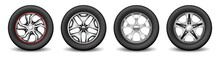 Car Rims Set With Rubber Tires And Chromed Modern Disks For Vehicle Wheel Protection