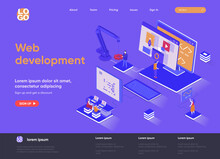 Web Development Isometric Landing Page. Full Stack Development, Software Engineering, Design And Programming Isometry Web Page. Website Flat Template, Vector Illustration With People Characters.