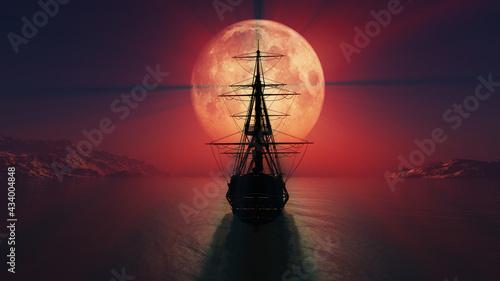 Fotografia old ship in the night full moon illustration