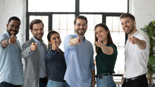 We Need You. Happy Confident Professional Group Pointing Finger At Camera. Diverse Millennial Team Of Employees Making Choice, Offering Job, Searching Candidates For Hiring. Head Shot Photo Portrait