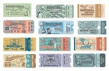 Basketball Game Tickets, Sport Tournament, Team Championship Final Match Entry Vector Pass On Sport Arena Or Stadium. Basketball Player Throwing Ball In Hoop, Jumping For Slam Dunk, Winners Prize Cup