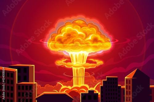 Fotografia Atomic bomb explosion in city cartoon vector background