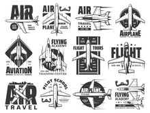 Air Travel Tours And Aviation School Icons Set. Army Flying Academy Training Center, Pilot Courses Emblem Or Badge. Civil Passenger Airliner And Military Jet Fighters, Modern Propeller Aircraft Vector