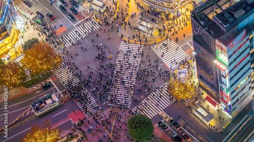 Fotografija Pedestrians crosswalk at Shibuya district in Tokyo, Japan