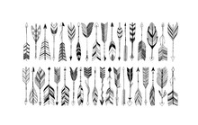 Rustic Decorative Arrows With Feathers Elements. Set Of Boho Arrows With Different Tips And Plumage. Hand Drawn Vintage Vector Collection. Vector Black Doodle Elements Isolated On White Background