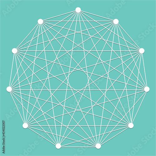 Interlocking, interconnect polygon shape, elemenet Wall mural