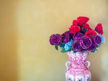 Beautiful Flowers In Vintage Ceramic Vase.