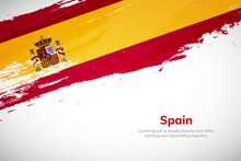 Brush Painted Grunge Flag Of Spain Country. Hand Drawn Flag Style Of Spain. Creative Brush Stroke Concept Background