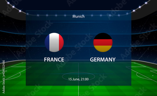 France vs Germany football scoreboard. Broadcast graphic soccer - fototapety na wymiar