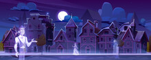 Abandoned City With Ghosts Walking In Darkness Along Antique Dilapidated Medieval Buildings Under Full Moon Glow In Sky. Scary Halloween Scene With Creepy Dead Characters, Cartoon Vector Illustration
