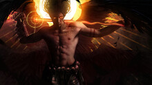 A Muscular Handsome Male Angel With Black Wings And Demonic Fiery Eyes Stands With His Magic Sword On His Shoulders, Against The Background Of A Bright Yellow Sun. 2d Illustration