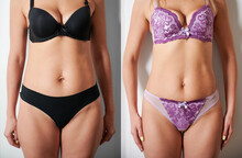 Front View Of Woman's Body Before And After Weight Loss, Plastic Surgery Concept