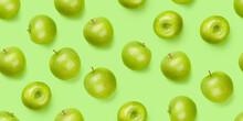 Green Apple Fruits Over Green Seamless