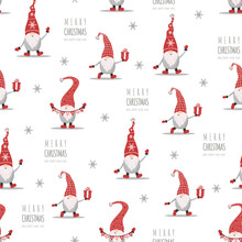 Christmas Pattern With Gnomes In Red Hats. Cute Scandinavian Elves. Vector Illustration In Cartoon Style. New Year Design For Wrapping Paper, Textiles, Fabric.