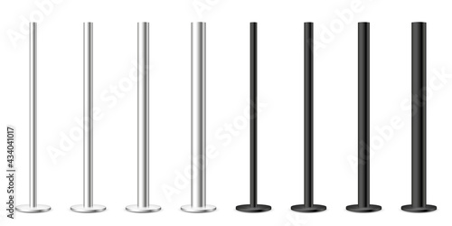 Realistic metal poles collection isolated on white background Fotobehang