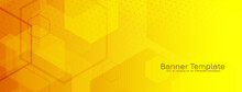 Bright Yellow Hexagonal Geometric Banner Design
