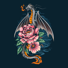 The Dragon Gave Off A Fire On A Pretty Flower