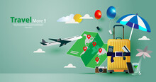 Travel Vector Illustration Concept, Travel To World, Trip To World. Vector Template Background Isolated