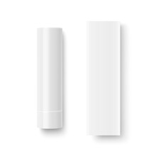 Vector Realistic 3d White Blank Closed Lip Balm Stick, Hygienic Lipstick And Carton Packing Set Isolated. Design Template For Graphics, Vector Mockup. Cosmetic, Beauty, Makeup Concept. Top View