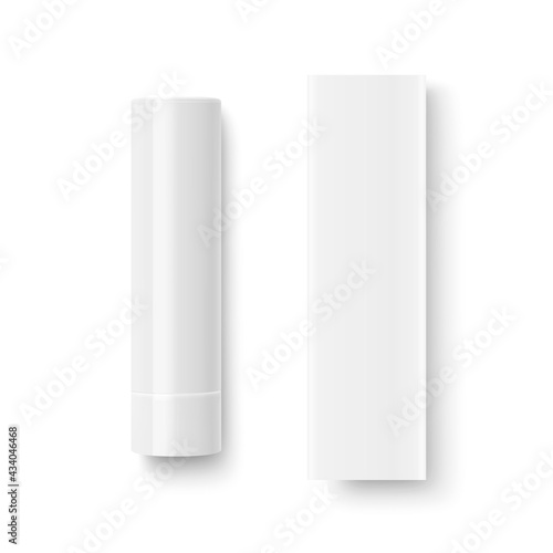 Wallpaper Mural Vector Realistic 3d White Blank Closed Lip Balm Stick, Hygienic Lipstick and Carton Packing Set Isolated