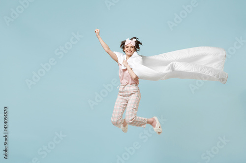 Canvas Print Full length young superhero woman win ear pajamas jam sleep eye mask rest at hom