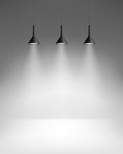Empty Room With Three Bright Lamps