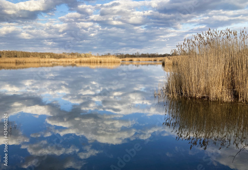 Fototapeta Lake with clouds reflection at spring