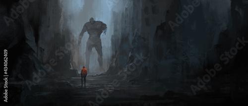 Fotografia Dialogue of survivors in the ruins after the war, 3D illustration
