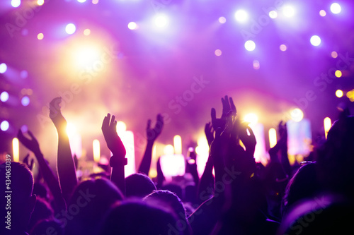 Cheering crowd with hands in air at music festival Fototapeta