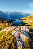 Fototapeta Kawa jest smaczna - Mighty Mont Blanc glacier with lake Lac Blanc. Location Chamonix resort, France, Europe.