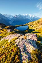Mighty Mont Blanc Glacier With Lake Lac Blanc. Location Chamonix Resort, France, Europe.