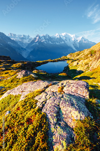Mighty Mont Blanc glacier with lake Lac Blanc. Location Chamonix resort, France, Europe. - fototapety na wymiar