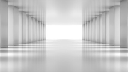 White empty light Hall Zoom in. Perspective view of White empty Modern Architecture room. Abstract  white tunnel Background. 3D Render.