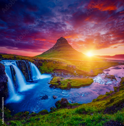 Fantastic evening with Kirkjufell volcano. Location Kirkjufellsfoss waterfall, Iceland, Europe.