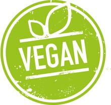 Grünes Siegel Vegan Mit Blättern