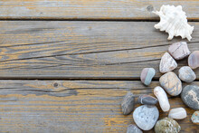 Closeup Of Old Wood Planks Texture And Grass Background