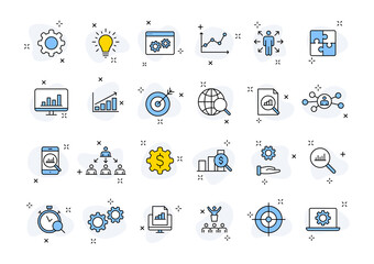Set of 24 Data Proceassing web icons in line style. Graphic, analytics, statistic, network, diagrams, digital. Vector illustration.
