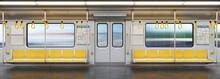 Subway Car Empty Interior, Metro Cross Section, 3d Rendering