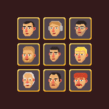 Pixel Art Vector Illustration Set Of Various Pixelated Cartoon Old And Young Man Faces Isolated Square Avatars