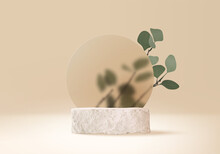 3d Background Products Display Stone Podium Scene With Palm Leaf Geometric Platform. Background Vector 3d Render With Podium. Stand To Show Cosmetic Product. Stage Showcase On Pedestal Beige Display