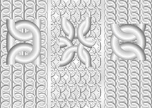 Chain. Three Seamless Vector Patterns. 3D Silver (grayscale) Theme.