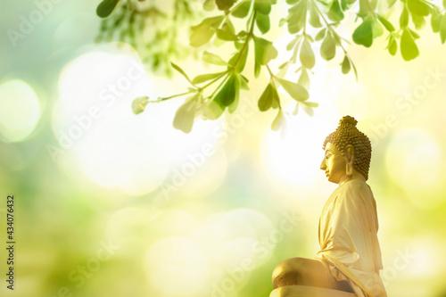 Wallpaper Mural Vesak Day concept: Buddha statue in nature sunset blurred background