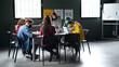 Leinwandbild Motiv Group of people attending education class in community center, coronavirus concept.