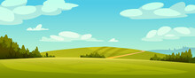 Green Fields Landscape, Rural Hills, Pasture Grass, Meadows And Trees, Blue Sky On Background. Vector Grassland, Country Agriculture, Farmland. Ecology Environment Panorama, Summer Spring Nature
